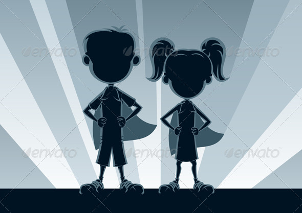 Superkids Silhouettes - People Characters