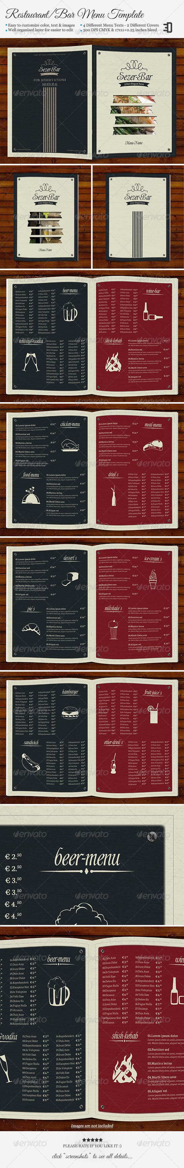 Restaurant/Bar Menu Template - Food Menus Print Templates