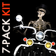 Funny Skeleton - Crazy Biker II - Pack of 7