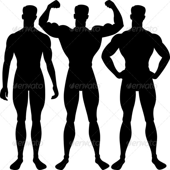 vector set athletic man silhouette in different poses by kavalenkava rh graphicriver net man silhouette vector side man silhouette vector