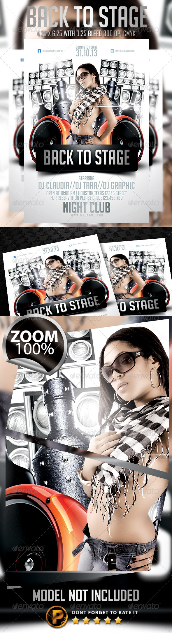 Back To Stage Flyer Template - Clubs & Parties Events
