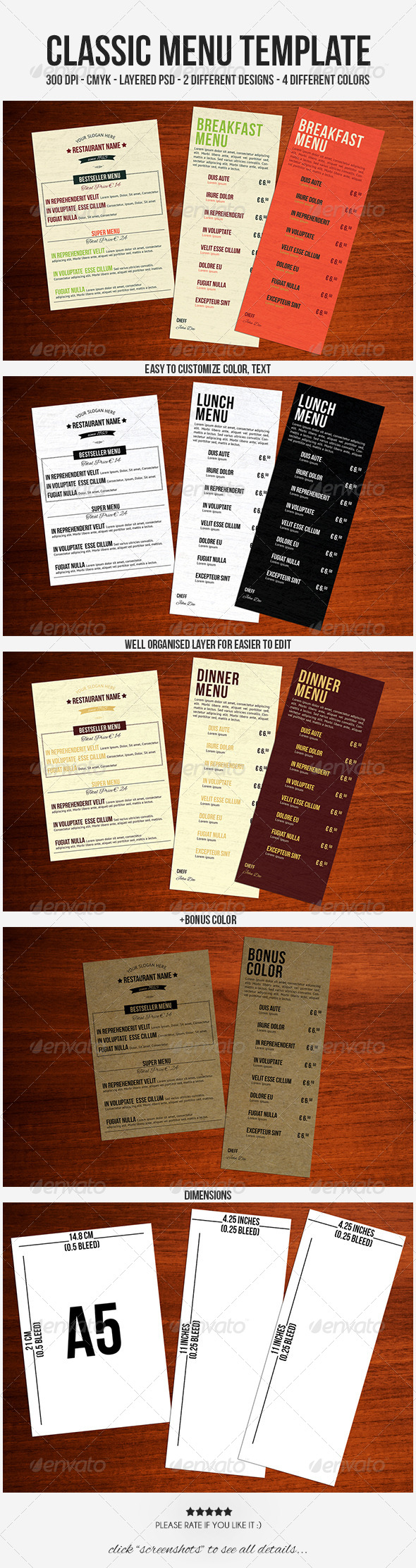 Classic Menu Template - Food Menus Print Templates