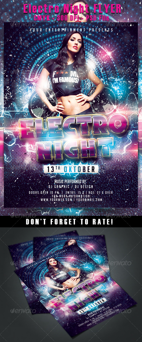 Electro Night Flyer - Events Flyers