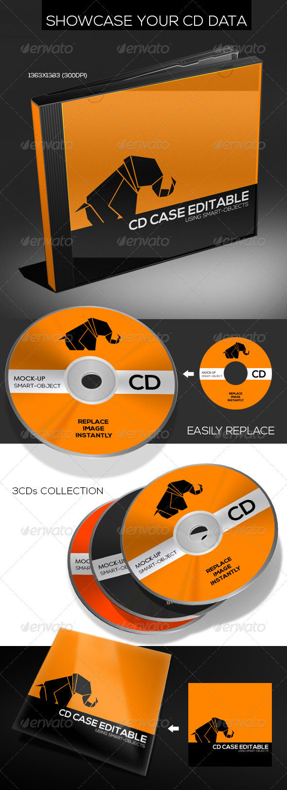 Realistic CD & CD Case Mock-Up - Discs Packaging