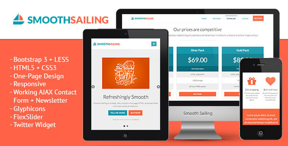 Smooth Sailing - One-Page Bootstrap 3 Landing Page - Creative Landing Pages