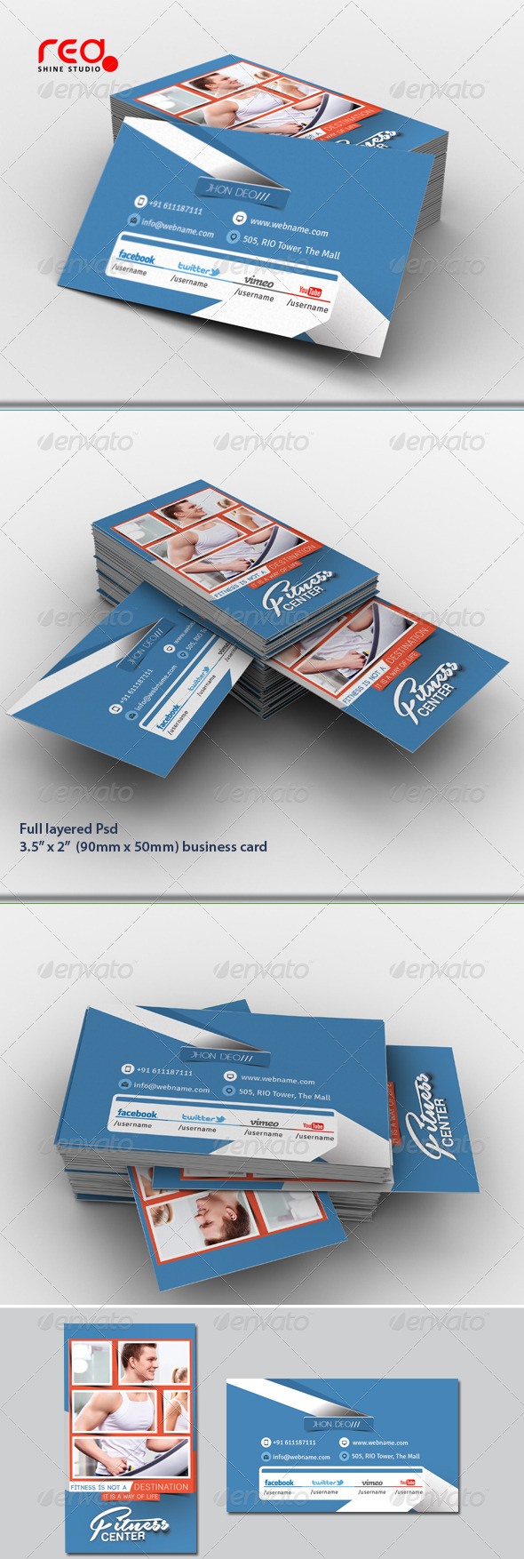 Fitness Center Business Card Set - Corporate Business Cards