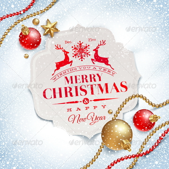 Christmas greetings card and decor on snow by sergo graphicriver christmas greetings card and decor on snow christmas seasonsholidays m4hsunfo