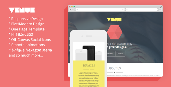 Venue - Creative And Flat Responsive Landing Page - Creative Landing Pages