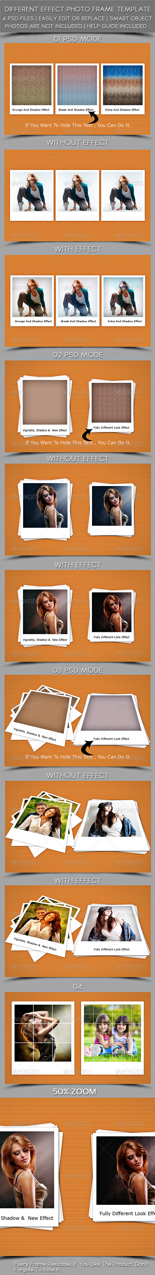 Different Effect Photoframe Template  - Photo Templates Graphics