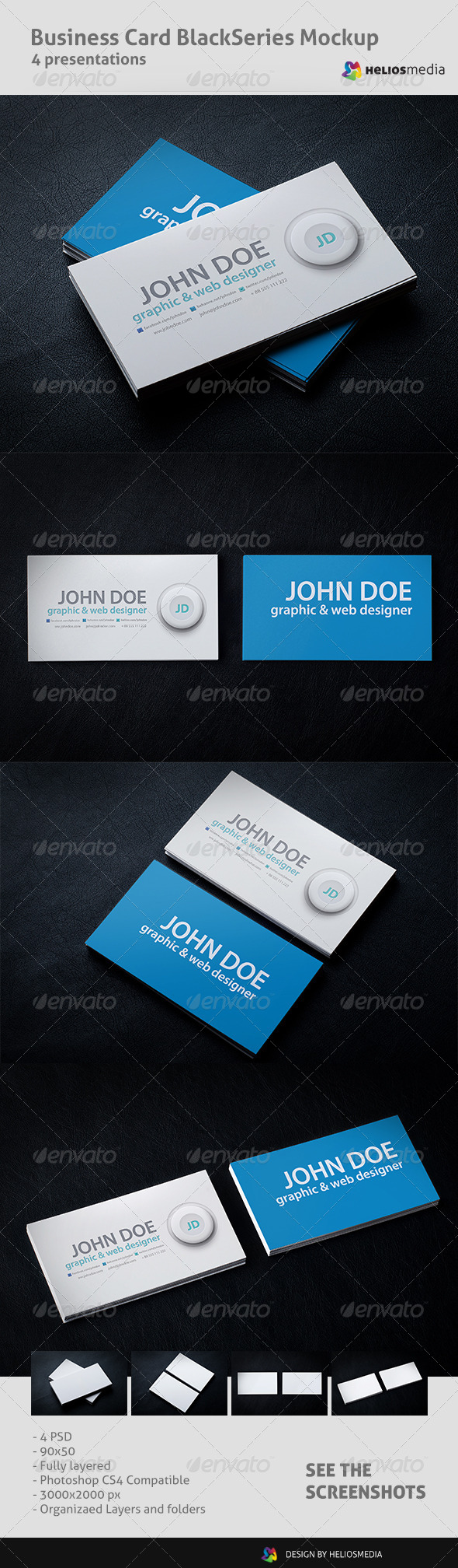 Business Card BlackSeries Mockup - Business Cards Print