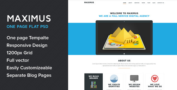 Maximus - One Page Multipurpose Flat PSD Template - Creative PSD Templates