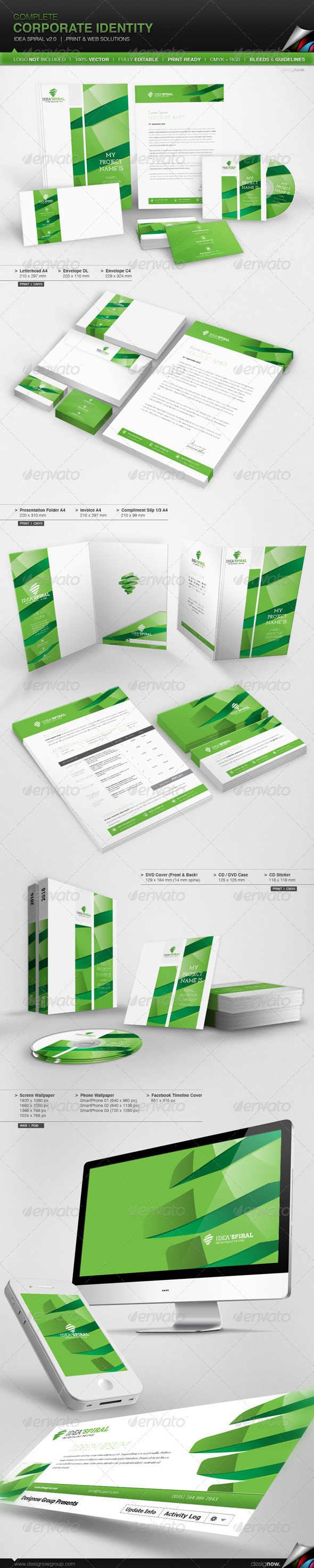 Corporate Identity - Idea Spiral v 2.0 - Stationery Print Templates