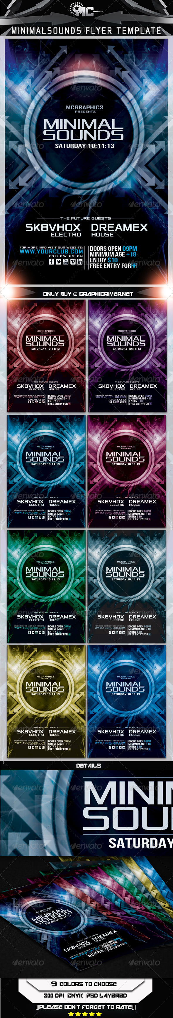 Minimal Sounds Flyer Template - Print Templates
