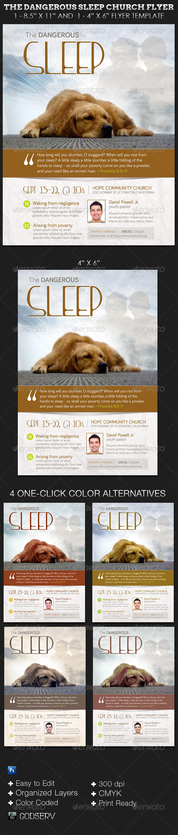 Dangerous Sleep Church Flyer Template - Church Flyers
