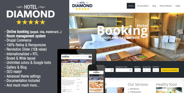 Hotel Diamond – Drupal Hotel Booking Theme