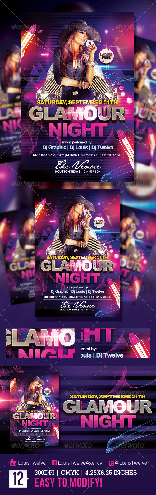 Glamour Night | Flyer Template - Clubs & Parties Events