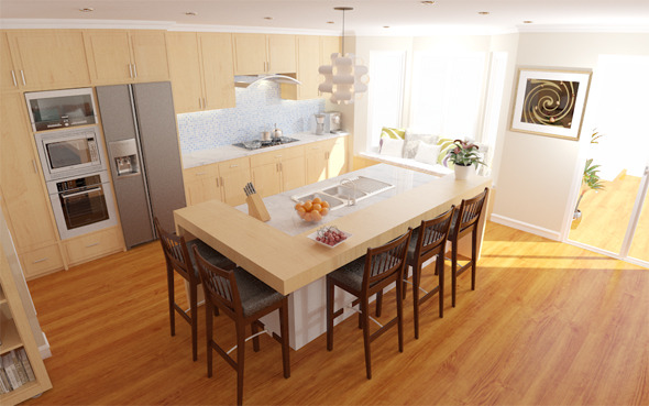 Interior / Living / Kitchen / Dining - 3DOcean Item for Sale
