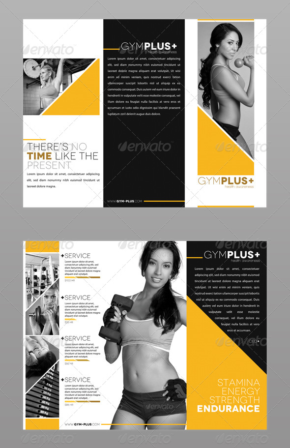 fitness gym trifold brochure by modernlion