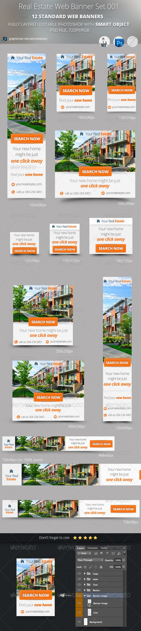 Real Estate Web Banner Set 001 - Banners & Ads Web Elements