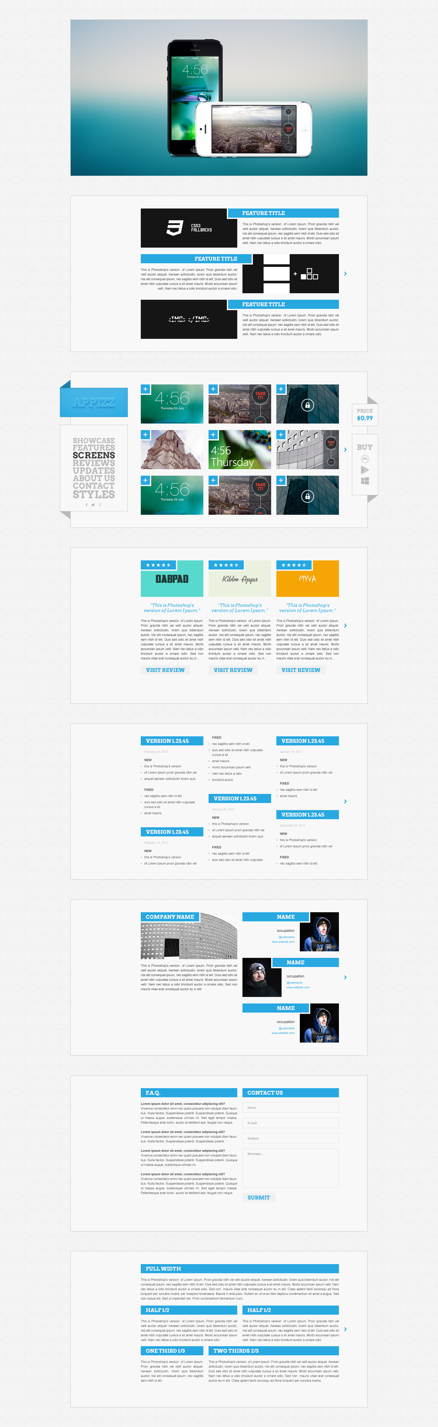 Appizz Mobile App Showcase HTML Template by Lumiart