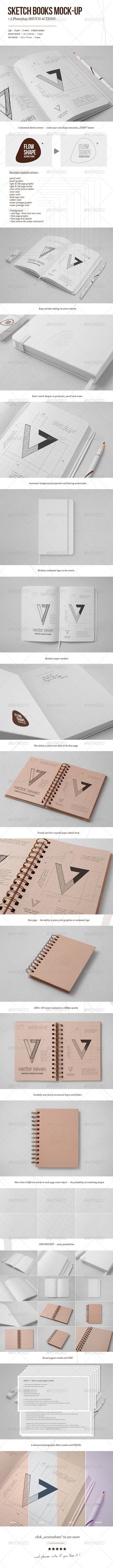 Sketchbook Mock-up & Sketch Actions - Books Print