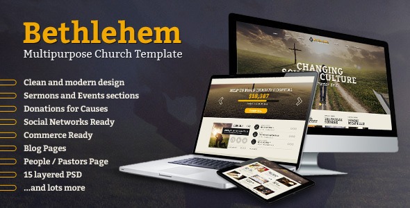 Bethlehem - Multipurpose Church PSD Template - Churches Nonprofit