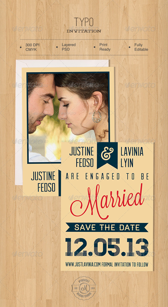 Typo Invitation - Weddings Cards & Invites