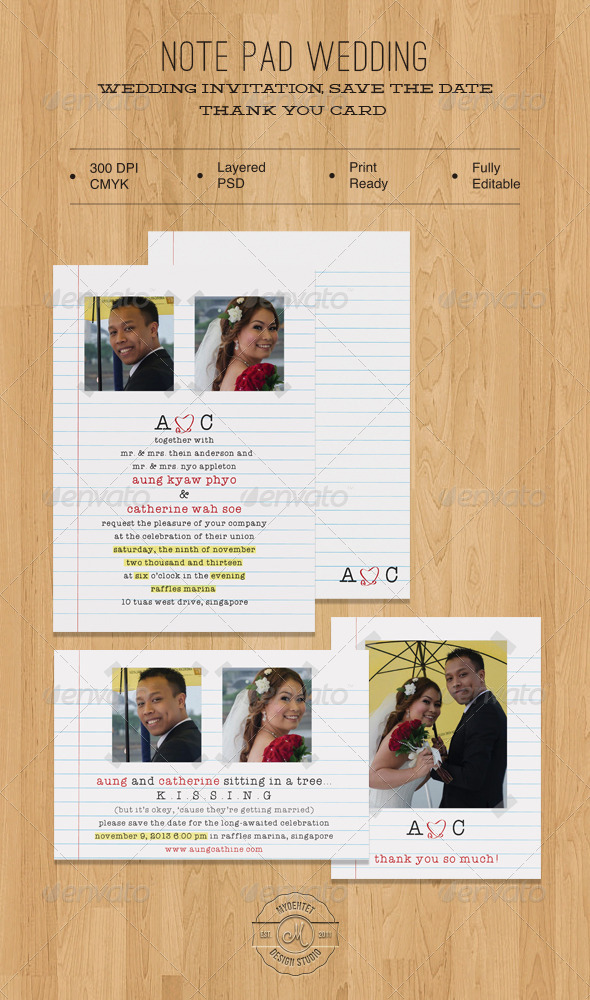Note Pad Wedding  - Weddings Cards & Invites