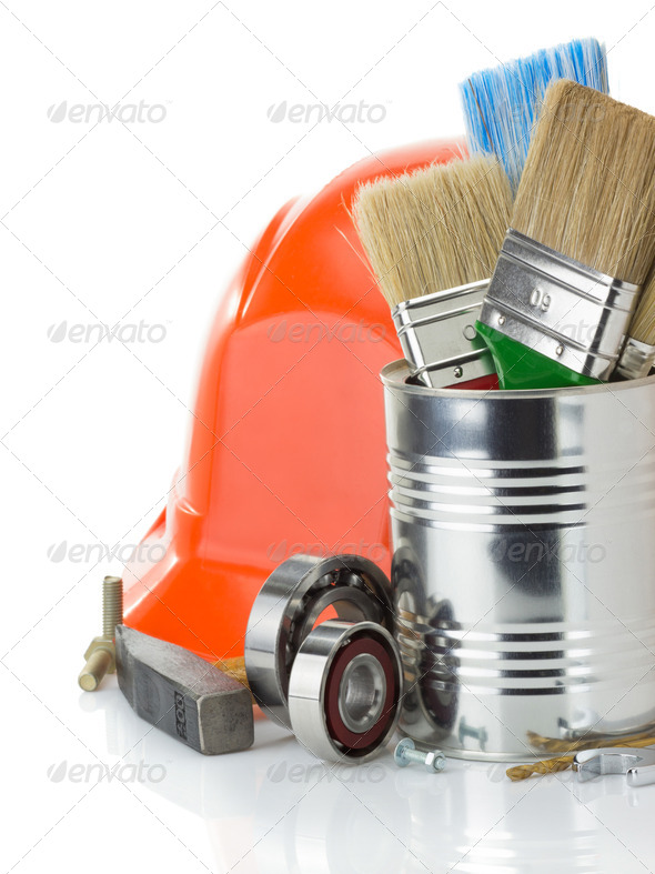 set of tools and instruments on white - Stock Photo - Images