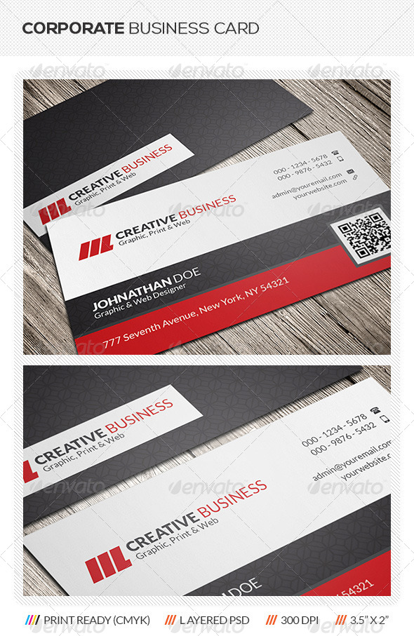 Corporate qr code business card by mengloong graphicriver corporate qr code business card corporate business cards reheart Gallery