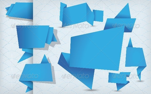 Set of Blue Origami Tags, Banners and Labels - Web Elements Vectors