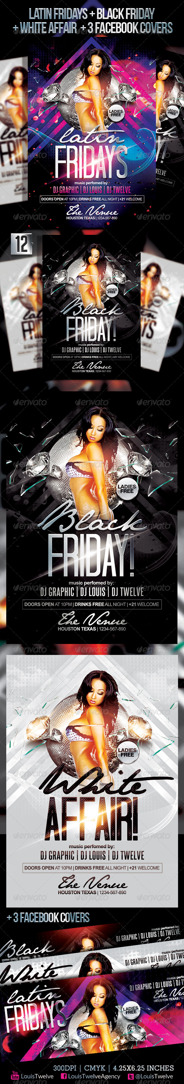 Latin Fridays + White Affair | Flyer + FB Covers - Clubs & Parties Events