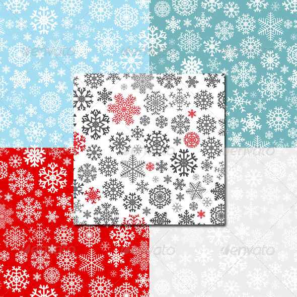 Christmas Seamless Patterns from Snowflakes - Christmas Seasons/Holidays