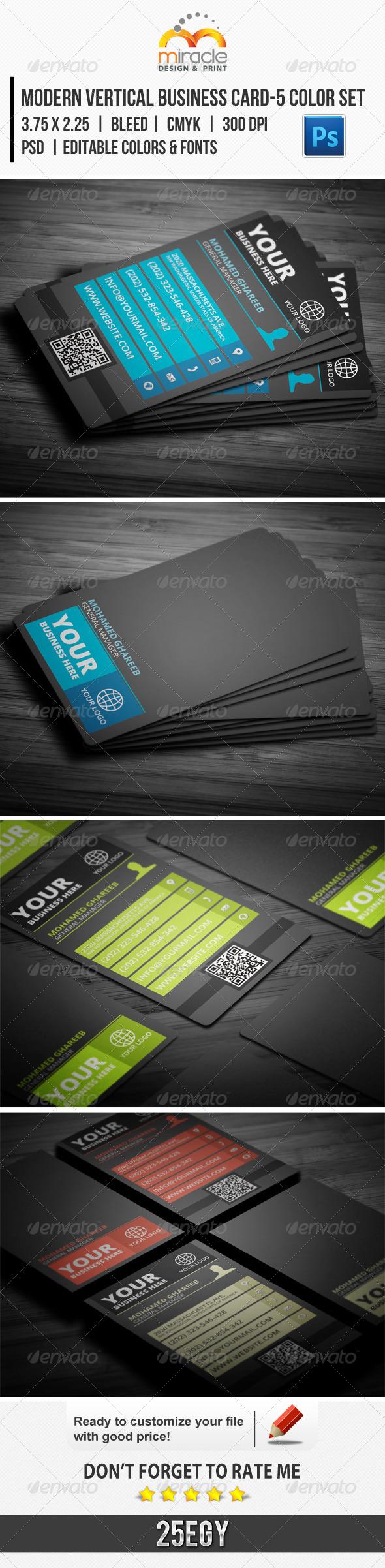 Modern Vertical Business Card-5 Color Set - Creative Business Cards