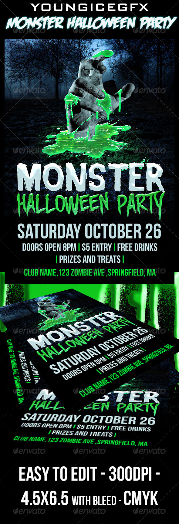 Monster Halloween Party Flyer - Clubs & Parties Events