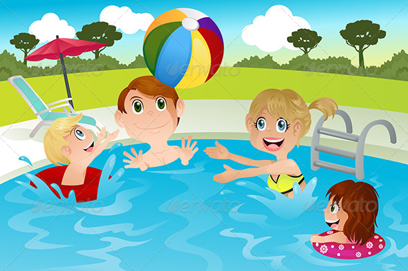 Family In Swimming Pool By Artisticco Graphicriver