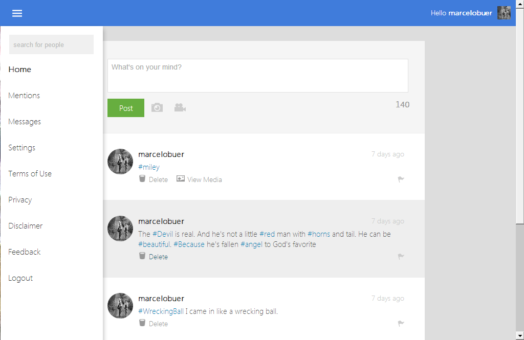 Blue Theme For Php Social Network Plataform By Marcelopaimon