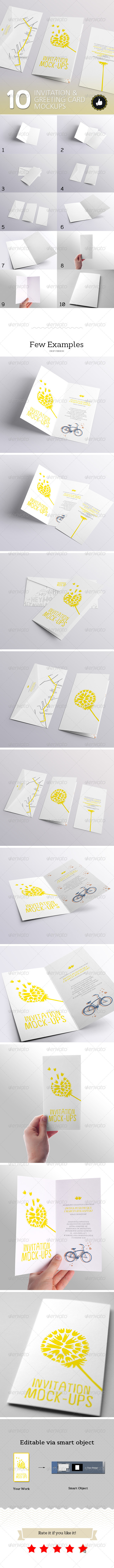 10 Invitation & Greeting Card Mockups - Miscellaneous Print