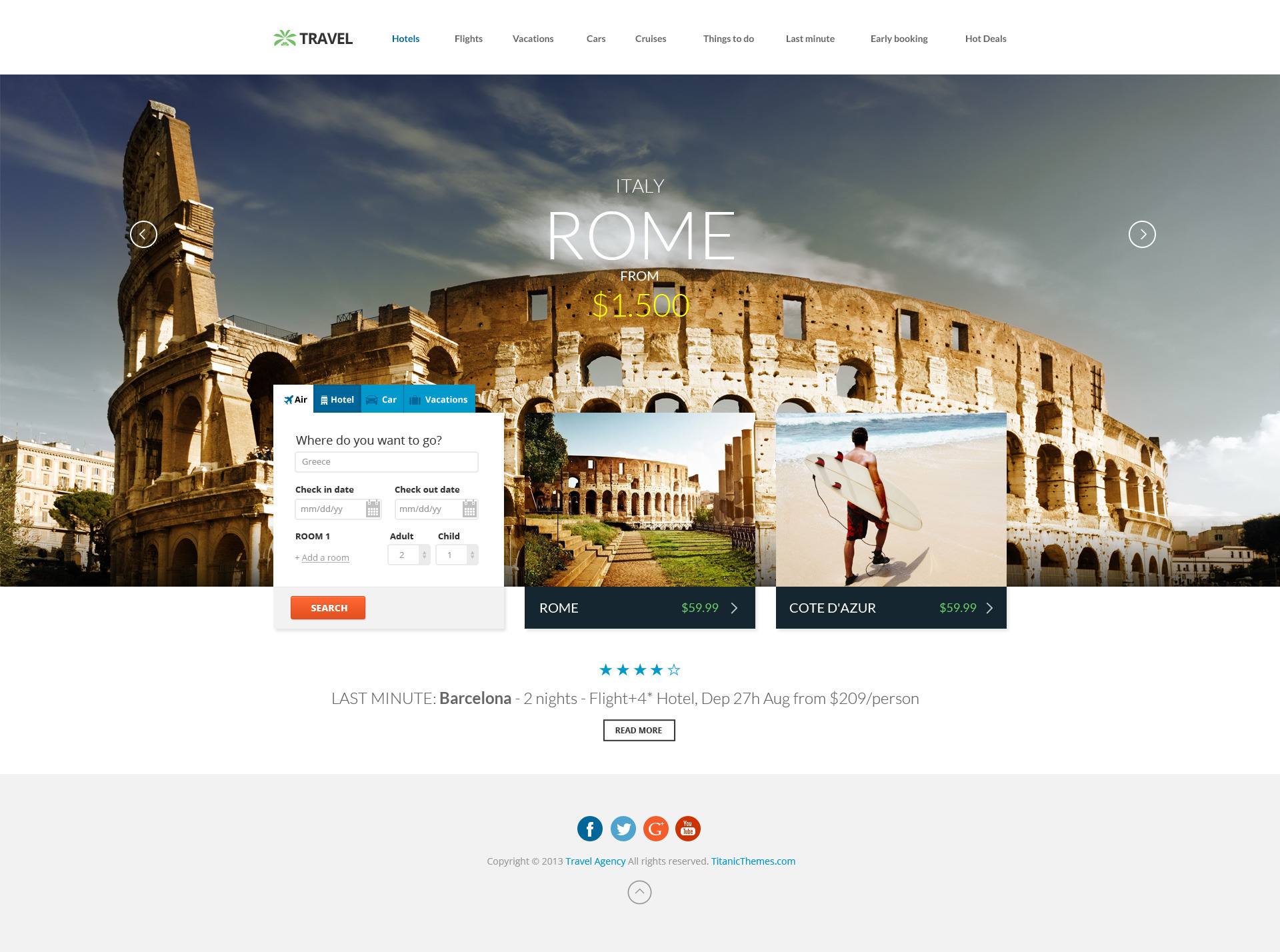 Travel agency multipurpose booking psd template by titanicthemes travel preview03avelagency smallg pronofoot35fo Image collections