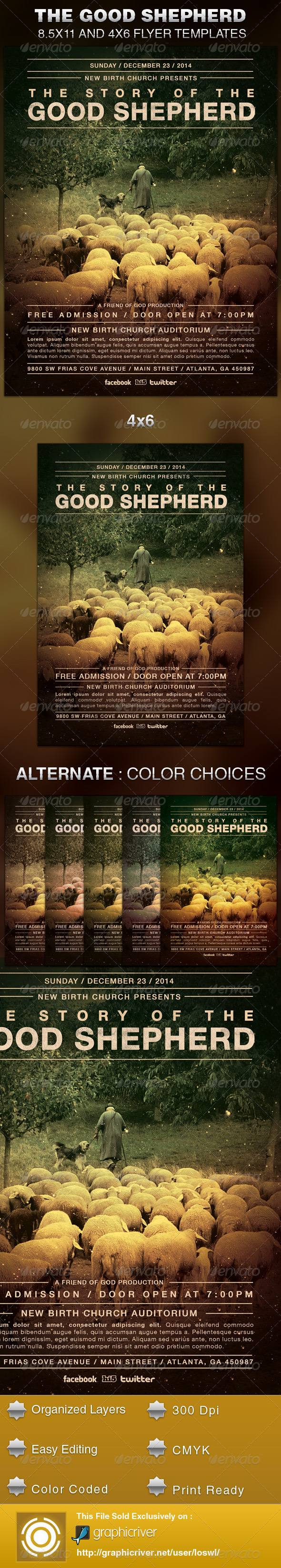 The Good Shepherd Church Flyer Template - Church Flyers