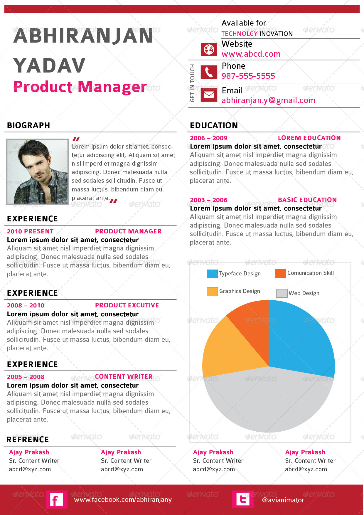 4 set creative  u0026 professional resume template by