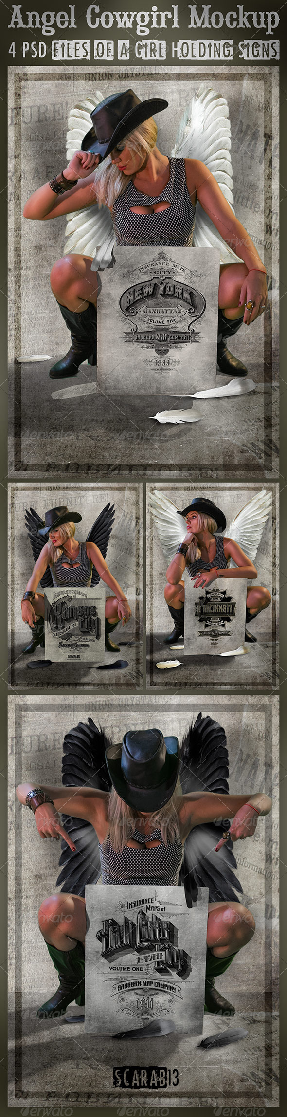 4 Templates of a Cowgirl Angel Holding Signs - Signage Print