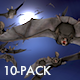Flock of Bats - Side Flying - I - Left to Right - 1