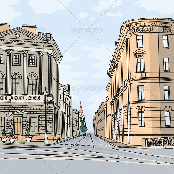 Vector Cityscape, the Wide Avenue in the St. Petersburg - Buildings Objects