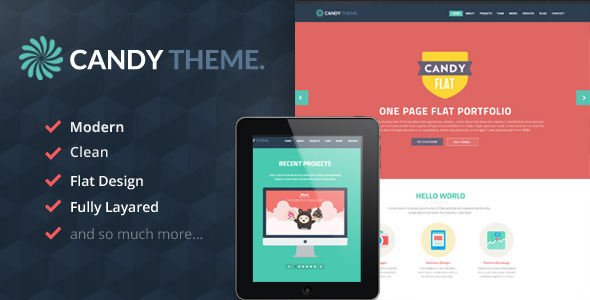 Candy - Onepage Flat PSD - Creative PSD Templates