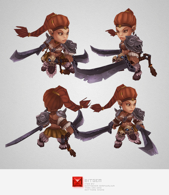 Low Poly Mini Barbarian Girl Sonya - 3DOcean Item for Sale