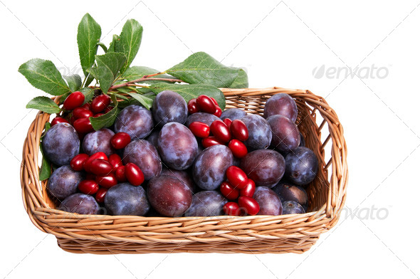 Juicy autumn fruits in the basket.. - Stock Photo - Images