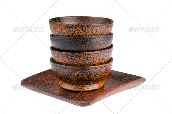 Wooden Bowls Isolated - Stock Photo - Images