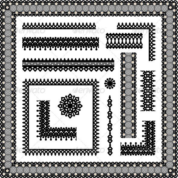Lace or Filigree Frames, Borders, Vignettes - Borders Decorative