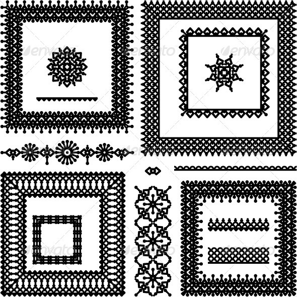 Lace or Filigree Frames, Borders, Vignettes, Divid - Borders Decorative
